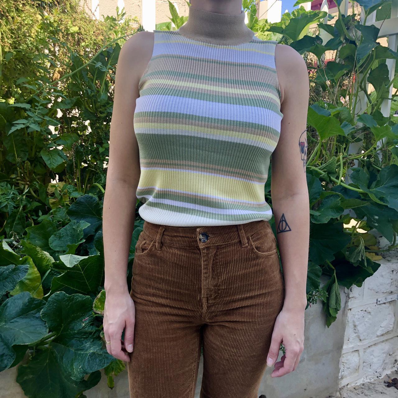 Product Image 1 - vintage stripped sleeveless turtleneck sweater!