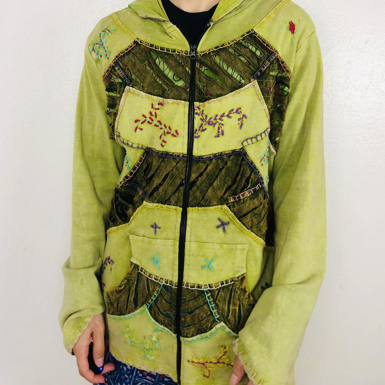 Product Image 1 - vintage 1990s green floral zip