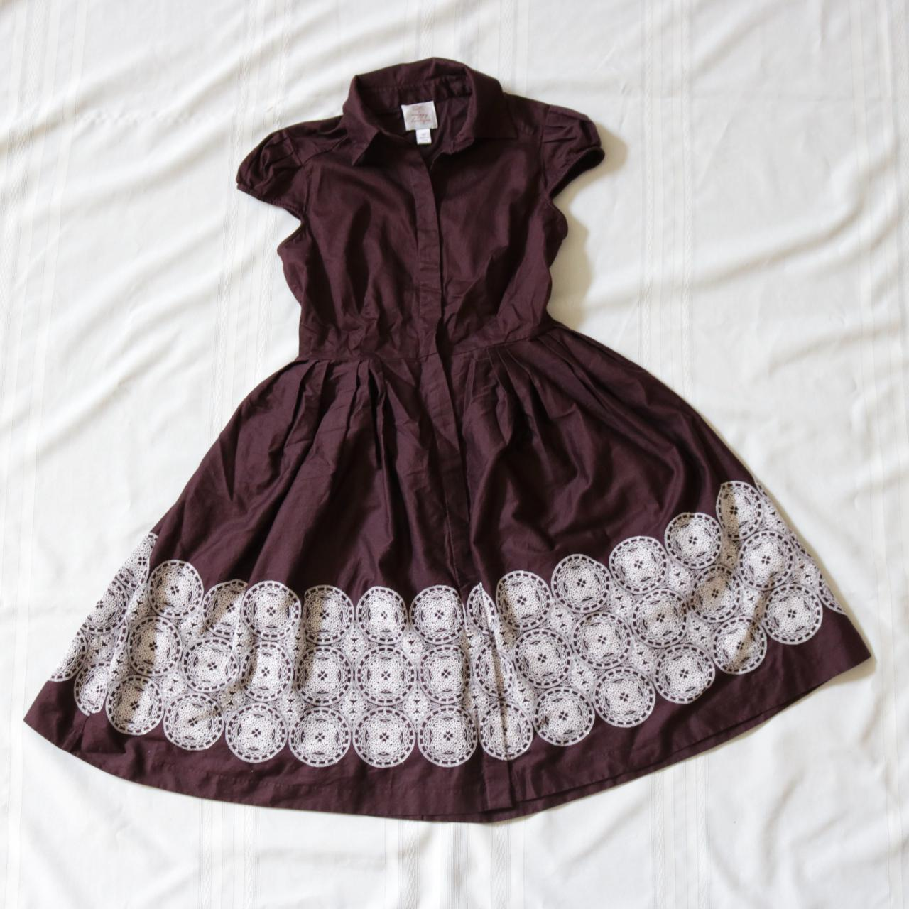 Product Image 1 - Brown embroidered shirt dress. The