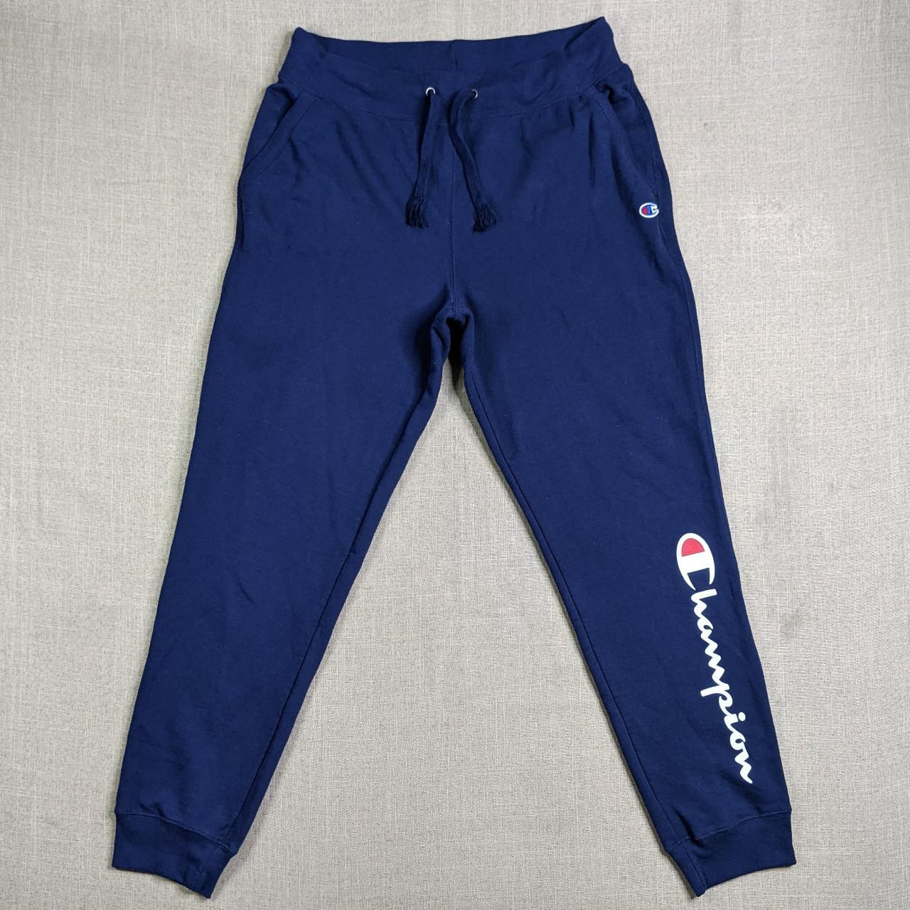 Product Image 1 - Champion sweatpants in navy blue.
