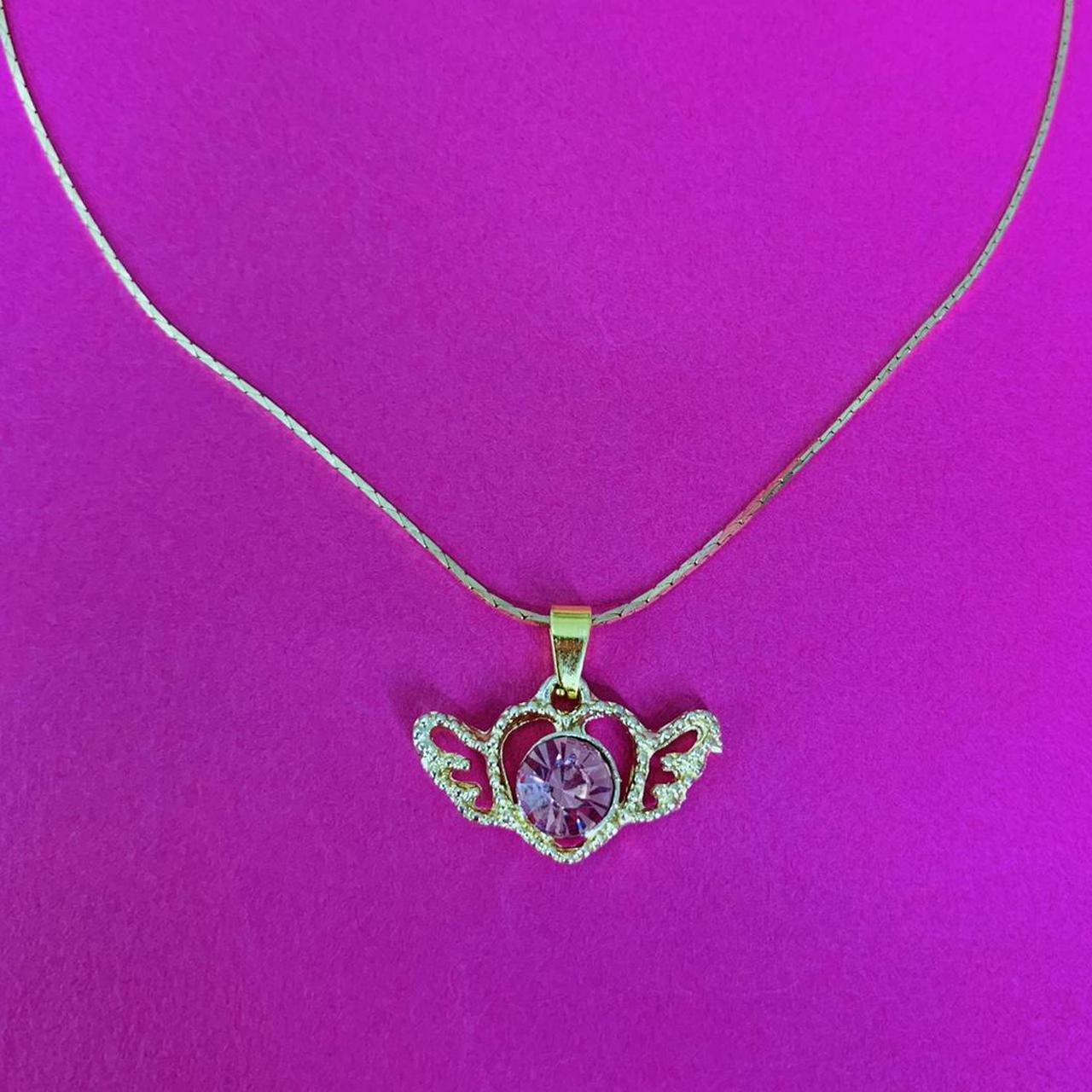 Product Image 1 - PINK CRYSTAL HEART ANGEL WING