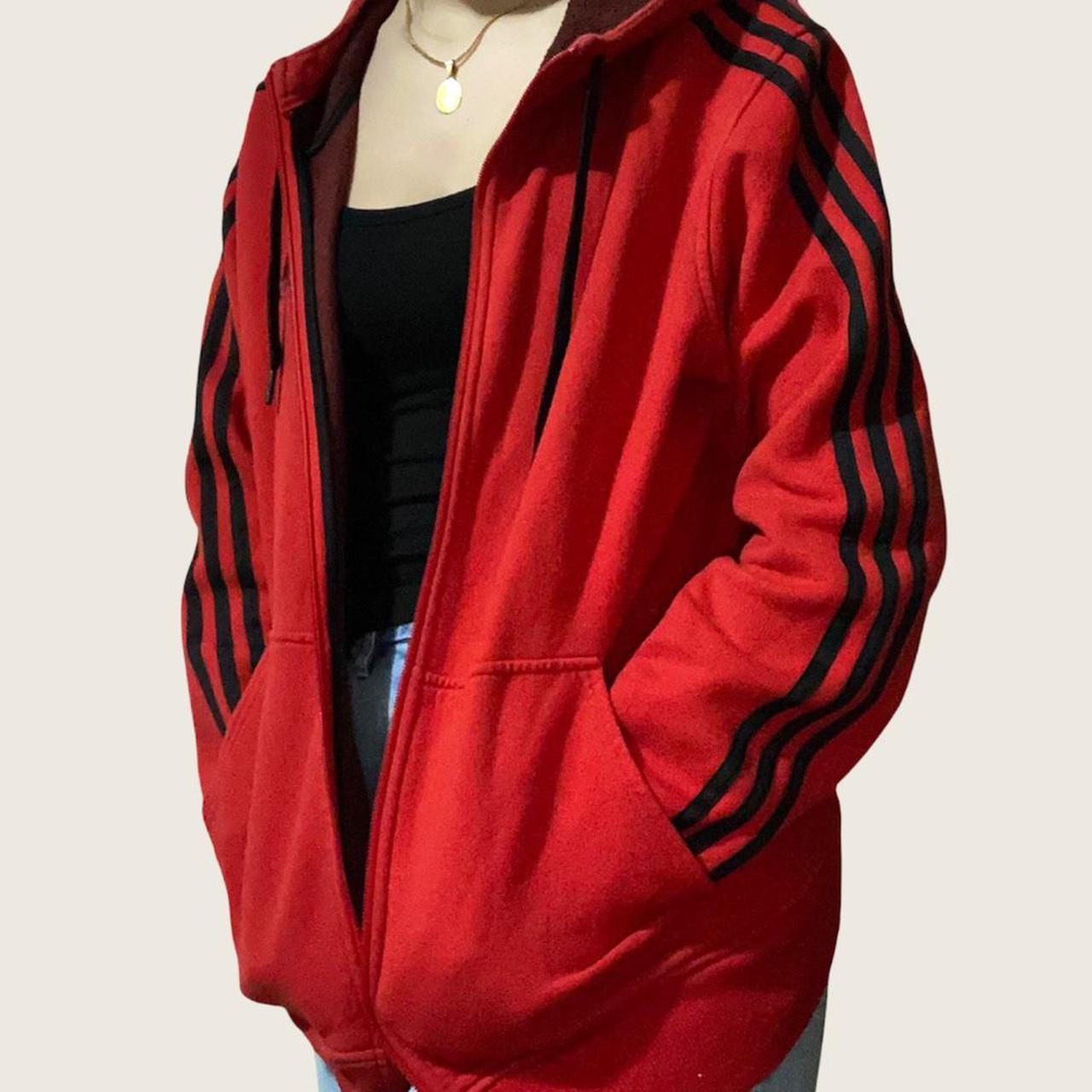 Product Image 1 - Adidas Hoodie Large Red/Black  #adidas #sweatshirt #3stripes