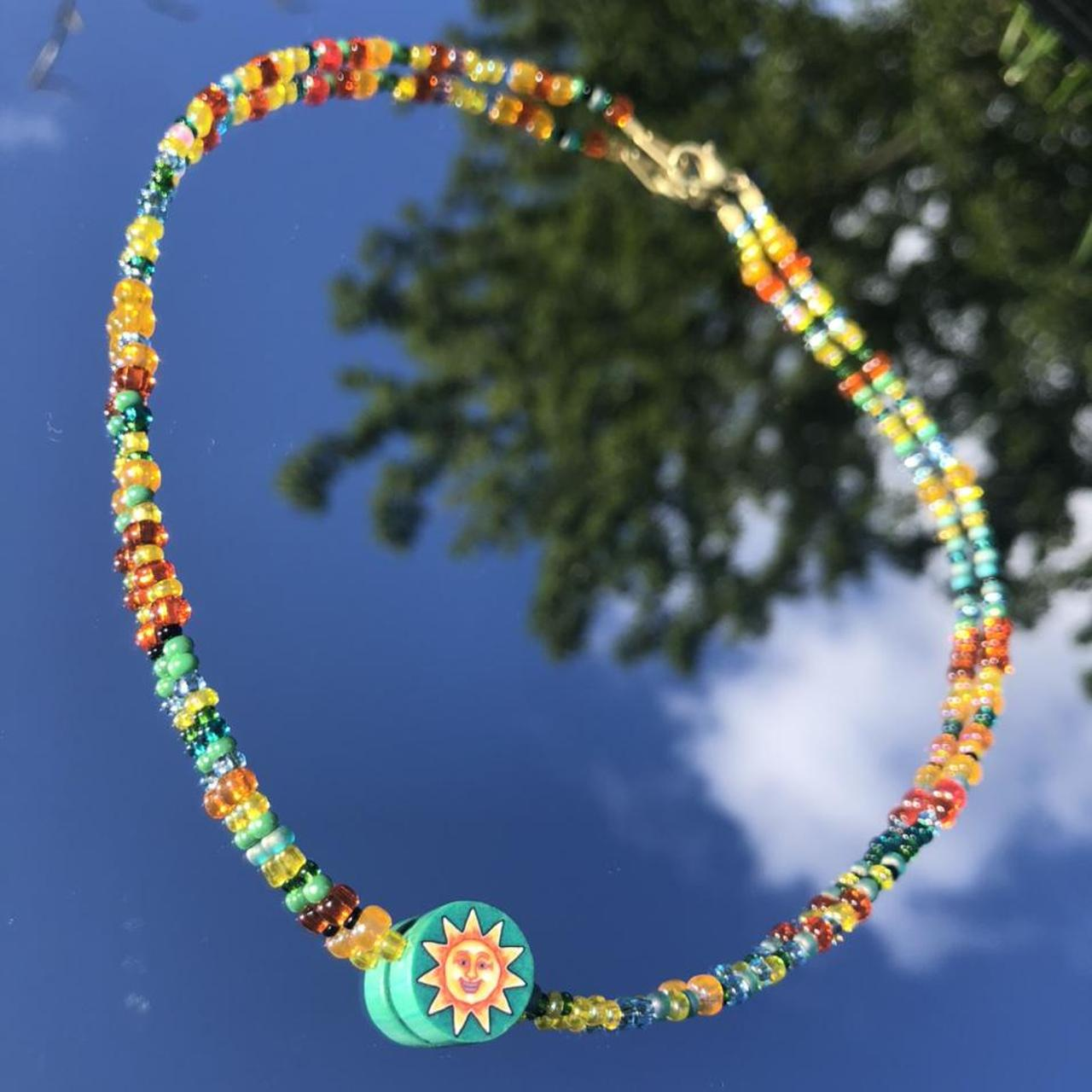 Product Image 1 - 💚☀️sun seed bead necklace☀️💚 polymer clay