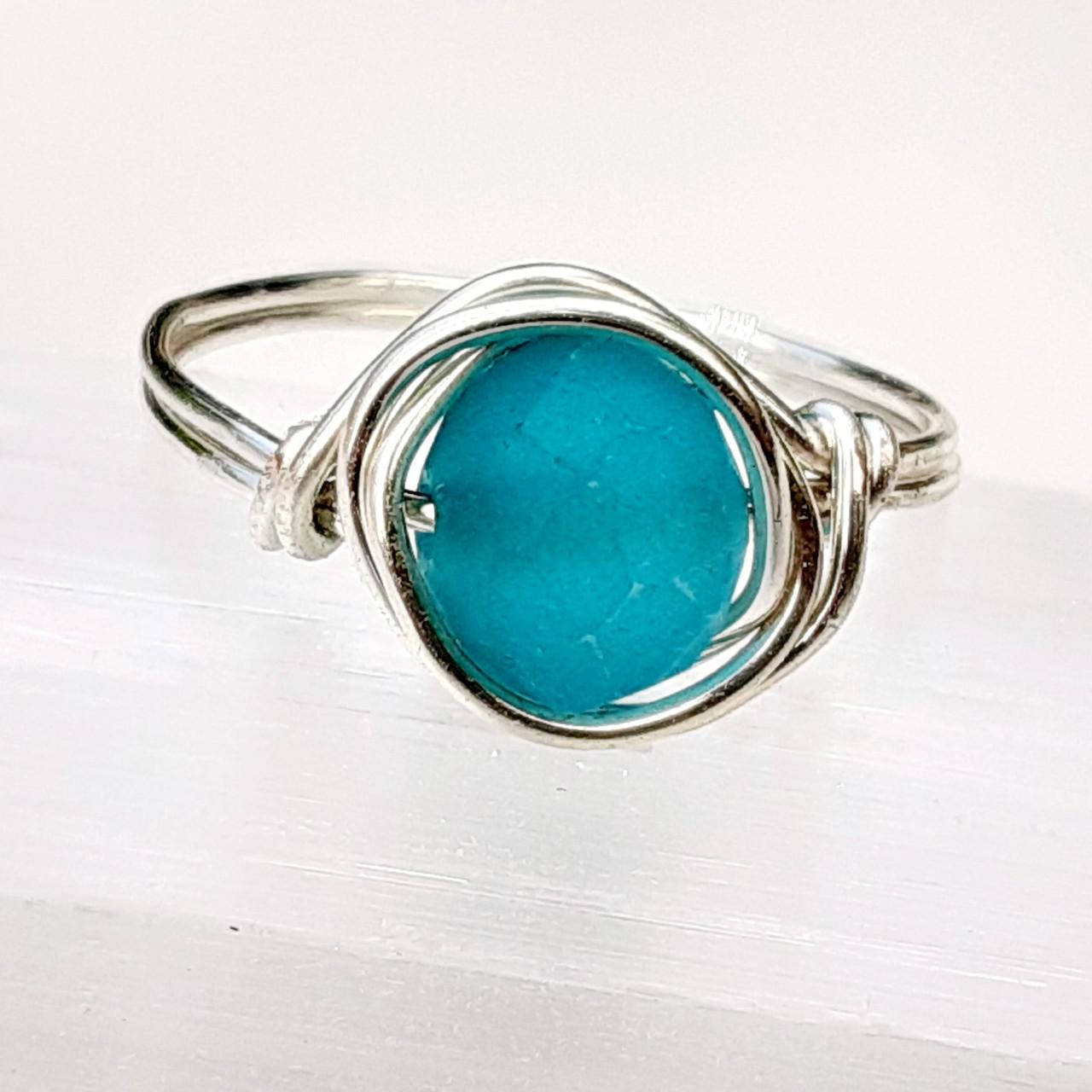 Product Image 1 - Glass ring. Silver wire wrapped matte