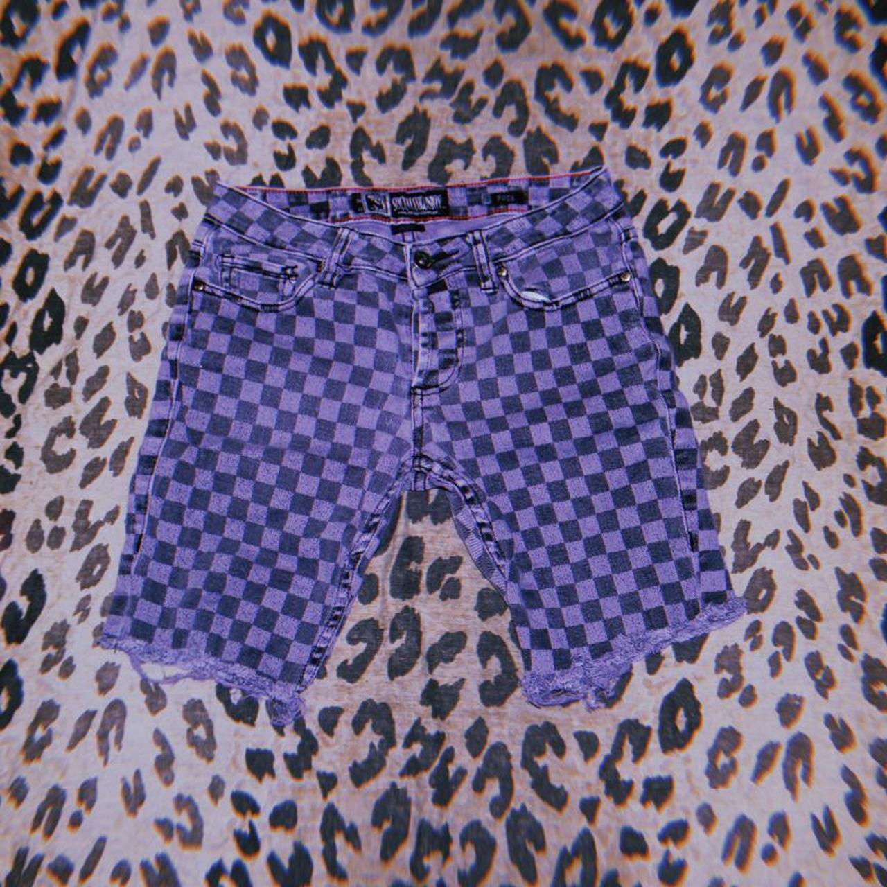 Product Image 1 - Purple checkerboard cutoff jean shorts. These