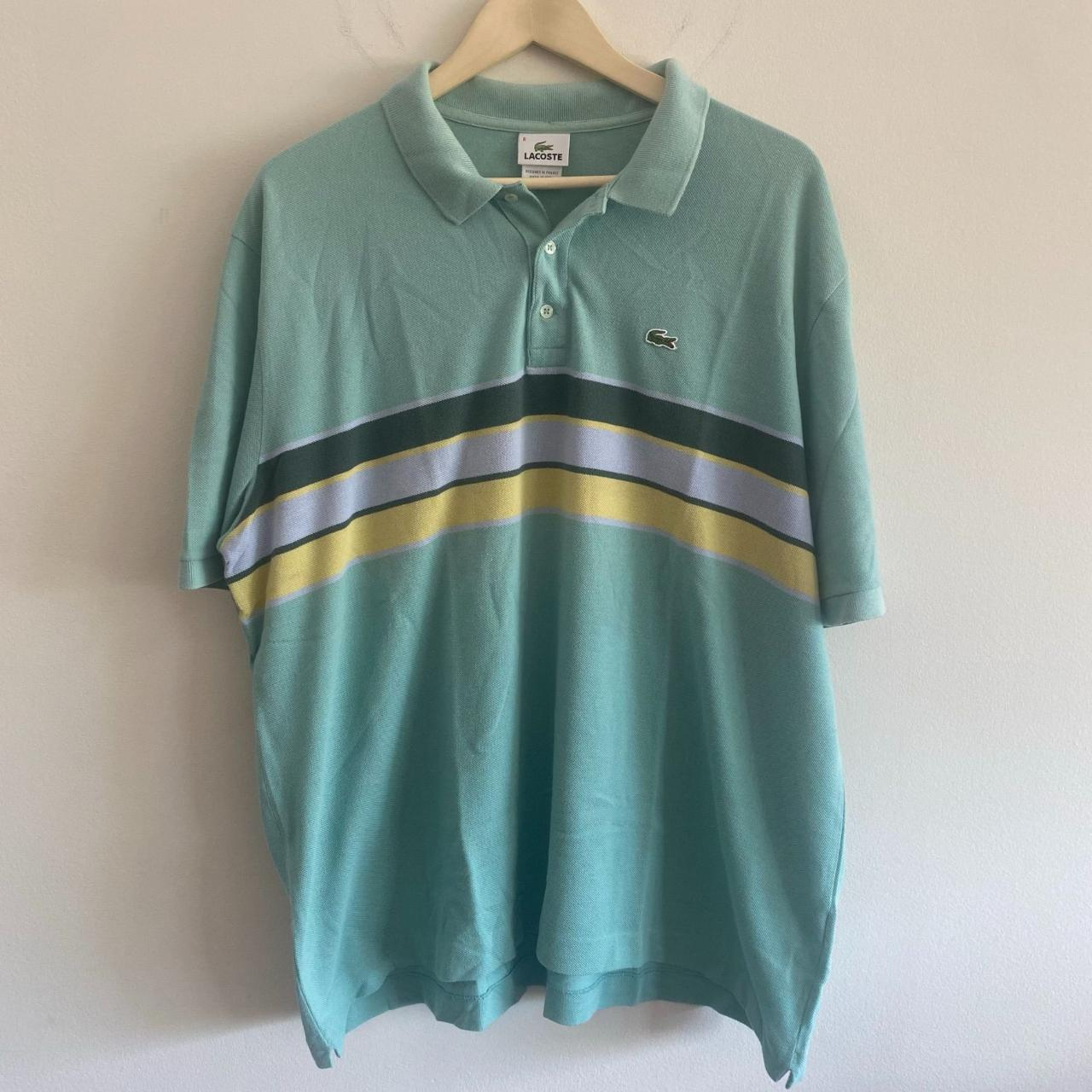 Product Image 1 - Mint Striped Lacoste Polo Shirt Size: